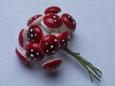 """craft supplies - 12 red mini mushrooms (3/4"""" diameter)"""