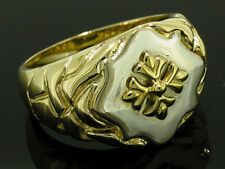 Mr036 Genuine 9ct 9K SOLID Gold Two-Tone MENS Shield Crested Signet Ring size 11