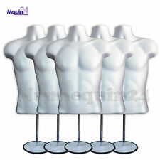 5 Mannequin Male Torsos + 5 Stands & 5 Hangers - White Plastic Men Dress Forms