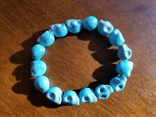 Turquoise Color Skull Beaded Stretch Bracelet