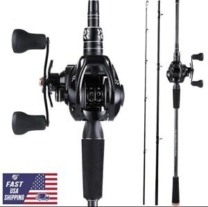 1.8M Carbon Fiber Fishing Rod and Reel Combos Baitcasting Rod With 12+1BB Reel