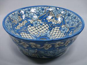 "16"" ROUND TALAVERA SINK ceramic bathroom vessel sink, mexican handmade folk art"