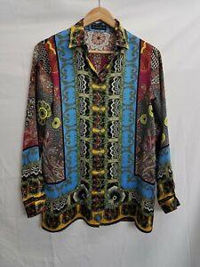 Etro Multicolor Paisley Silk Button Up Blouse 40