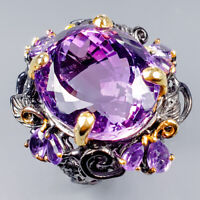 Vintage29ct+ Natural Amethyst 925 Sterling Silver Ring Size 8.5/R120303