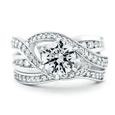 White Wedding Band Set 7 8 9 Round Cut 1.60 Ct Diamond Engagement Ring Silver