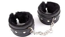 De Lux Black Faux Leather & fur Ankle Cuffs Restraints bondage sex games fetish