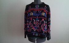 Michael Simon/Asian Dancers Motif/Colorful/Festive/Heavily Beaded Sweater