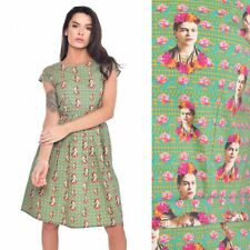 Run and Fly Vtg Floral Frida Mexican Print Dress 8 10 12 14 16 18 20