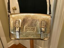 EUC Kate Spade Essex Scout Crossbody Leather Bag Purse Tote Metallic Gold