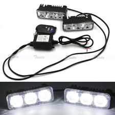 2pc 3 LED White Car DRL Driving Light Remote Control Strobe Flash Warning Lamp