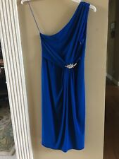 Tiana B. Dress One Shoulder Blue Formal Dress with Rhinestone Pin Size Med. NWT