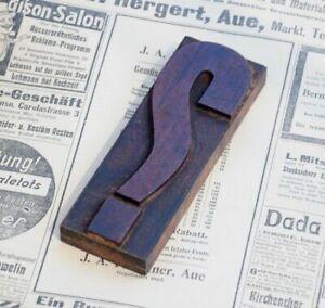 "huge ""?"" QUESTION MARK letterpress wooden printing block Art Nouveau wood type**"