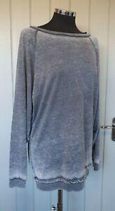 Sweaty Betty grey oversized long sleeve jumper top size small distressed marl