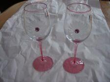 Beautiful Franco Vetrerie-e Cristallerie Jewel Flower Wine Glasses Pink