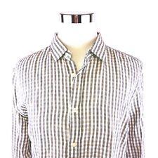 Bloomingdales 100% Linen Micro Check Long Sleeve Button Front Shirt Mens XL NWT