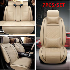 Luxury Auto Seat Cover Cushion 5-Seats Front + Rear PU Leather w/Pillows Size M