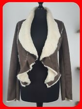 NEW LOOK Women's Jacket Brown Faux Suede Sheepskin Coat Size: UK 8
