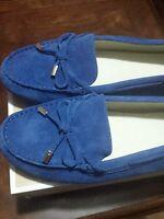 Michael kors Daisy Moc  Leather Electrc Blue Suede Flats Size 11 M