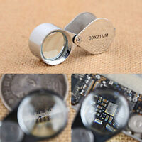 Folding Jeweler's Loupe Triplet Magnifying Glass Loop 30x 21mm with Case Gift