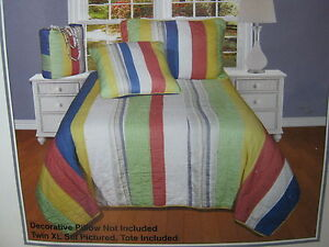 3 pcs HC Heritage Collection Candy StripeTwin XL Quilt & Sham Set  +Tote New