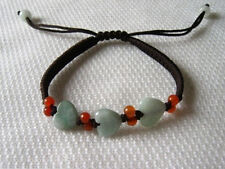 Lovely 3 Love Heart Jadeite Jade Beaded Bracelet w Gift Pouch -Great for Kids!