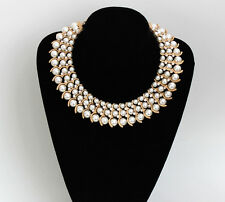 vintage  gold gp faux pearl rhinestone Crystal Choker Chunky bib collar necklace