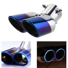 Blue Burnt Dual Exhaust Pipes 6.3cm Air outlet Car Muffler Tip no fading no rust