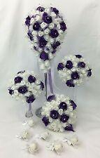 Hand-tied purple/white foam diamante rose flowers teardrop wedding bouquet set