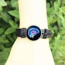 human brain Brain Black Bangle 20 mm Glass Cabochon Leather Charm Bracelet