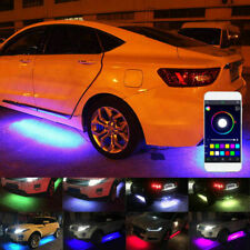 4PCS RGB Flow LED Car Tube Strip Underglow Body Neon Light Kit Phone APP Control