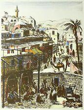 ERNST HUBER - Tel Aviv - Jaffa - Lithografie & Pochoir 1927