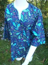 1970's hippie boho bell sleeve dashiki style colorful swirl print blouse tunic m