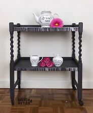 Dark Grey Tea Trolley On Wheels With Acrylic Pour Shelf In Pink And Grey