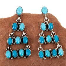 Navajo Earrings TURQUOISE Sterling Silver Long Chandelier Dangles Old Pueblo .e