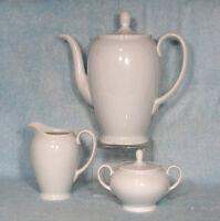 ROSENTHAL AIDA White PORCELAIN Tea Pot Cream Sugar Set CLASSIC ROSE VINTAGE MCM