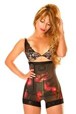 Mid Thigh Girdle with straps and a Red Flower Pattern Ref:Q100 Size S