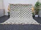 Moroccan Handmade Beni Ourain Rug 6 2 x7  Berber Checkered White Gray  Wool Rug