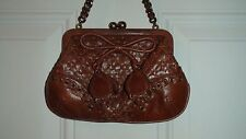 Isabella Fiore~Small Brown Leather Purse~Woven Design Front & Back~NWOT w/defect