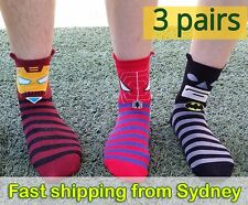 Super hero Socks 3 pairs Spiderman Batman Iron man Funny Superhero Novelty Socks