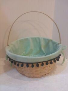 "Straw Wicker Basket 11"" Round Basket Blue Velvet Detachable Liner W/ Pompoms"