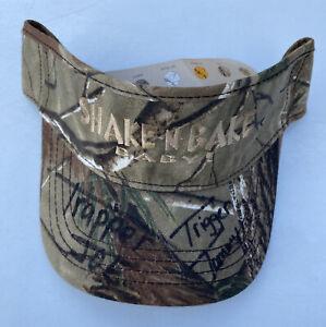 Vintage Trapper Joe & Trigger Tommy Autographed Camo Visor Cap Hat  Swamp People