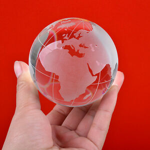 Round Earth Globe World Map Crystal Glass Clear Paperweight Table Desk Decor AAA