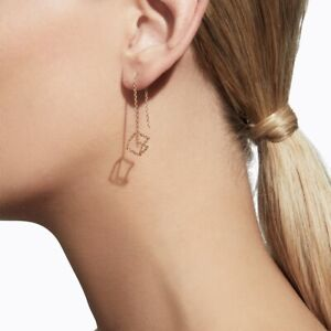 Shihara solid 18k rose gold 3D cube chain earrings