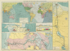 PANAMA & SUEZ CANALS effect on Ocean Routes. Maps profiles. LARGE 1959 old