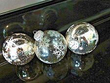 "Christmas Tree Balls Set of 3 Hanging Glass & Silver Snowflake Ornaments 3"" tall"