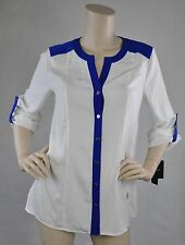 Alfani NWT  Wear To Work Top Blouse Cloud Bright Blue Ivory Size 4 Retail $59