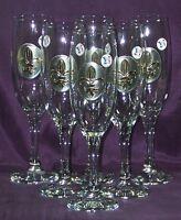 6 Flûtes à champagne médaillon Fleur de Lys en étain