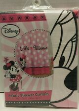 Minnie Mouse Disney Fabric Shower Curtain Valentine's Day Pink Polka Dots