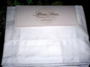 WHITE Sheet Set QUEEN or KING Sferra Italian Sateen LONG STAPLE Cotton 300TC