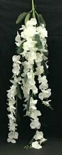 "Phalaenopsis Orchid Hanging Bush~White, Green. 52"" Long. Silk/Artificial"